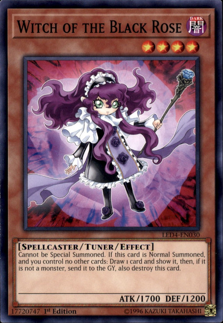 YuGiOh Legendary Duelists Sisters of the Rose Common Witch of the Black Rose LED4-EN030