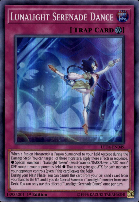 YuGiOh Legendary Duelists Sisters of the Rose Super Rare Lunalight Serenade Dance LED4-EN049