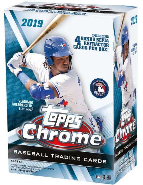 MLB Topps 2019 Chrome Baseball Trading Card BLASTER Box [7 Packs + 1 Bonus Pack]