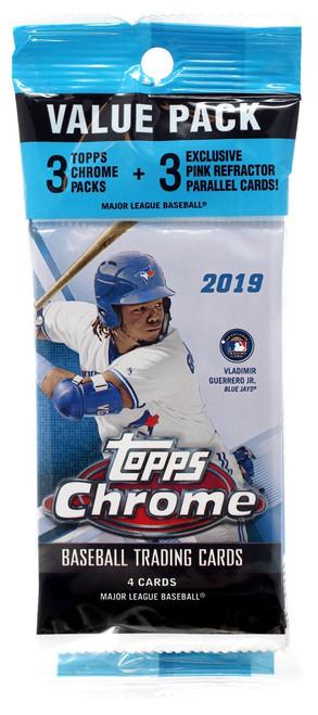 MLB Topps 2019 Chrome Baseball Trading Card VALUE Pack [3 Packs + 3 Pink Parallel Cards!]