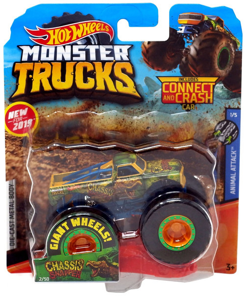 Hot Wheels Monster Trucks Animal Attack Chassis Snapper Diecast Car #1/5