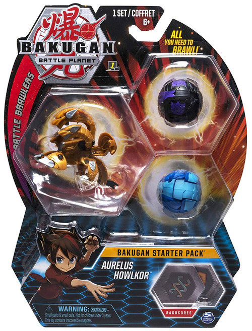 Bakugan Battle Planet Battle Brawlers Starter Pack Aurelus Howlkor 3-Figure Set
