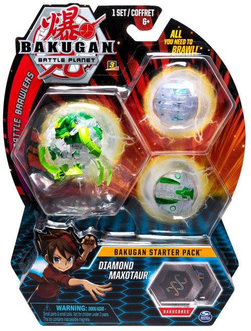 Bakugan Battle Planet Battle Brawlers Starter Pack Diamond Maxotaur 3-Figure Set