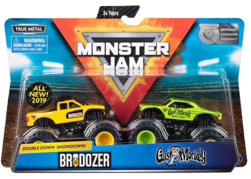Monster Jam Double Down Showdown! Brodozer & Gas Monkey Garage Diecast Car 2-Pack