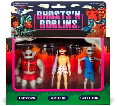 ReAction Ghost n' Goblins Unicorn, Arthur in Underwear & Skeleton Action Figure 3-Pack