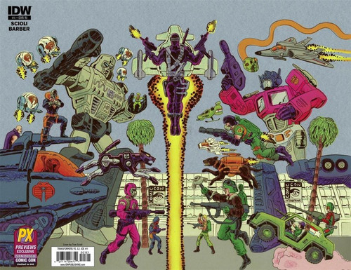 IDW Publishing Transformers Vs GI Joe #1 Comic Book [Diamond Previews SDCC Wraparound Cover C]