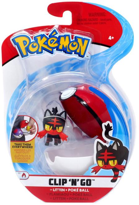 Pokemon Clip 'N' Go Litten & Poke Ball Figure Set