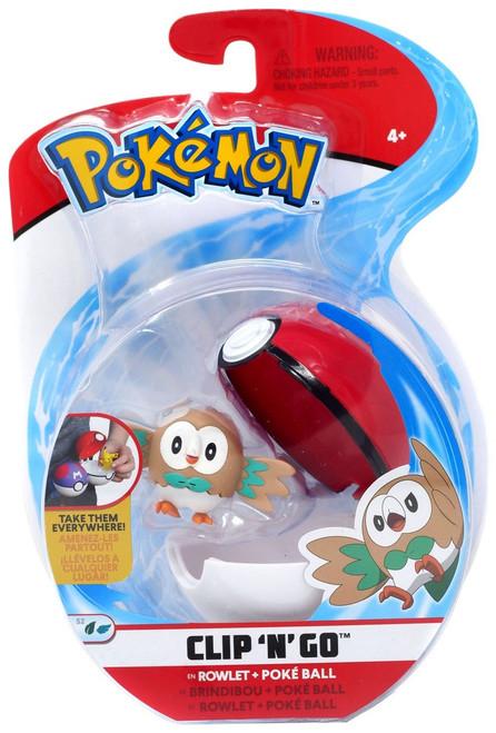 Pokemon Clip 'N' Go Rowlet & Poke Ball Figure Set