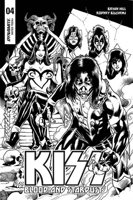 Dynamite Entertainment Kiss Blood Stardust #4 Comic Book [Buchemi Black & White Cover]