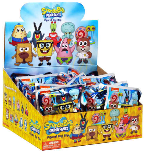 Nickelodeon 3D Figural Foam Bag Clip SpongeBob Series 3 Mystery Box [24 Packs]