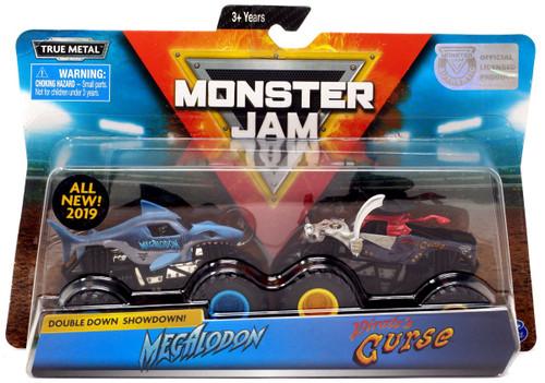 Monster Jam Double Down Showdown! Megalodon & Pirate's Curse Diecast Car 2-Pack
