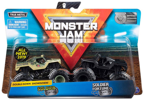 Monster Jam Double Down Showdown! Soldier Fortune & Soldier Fortune Black Ops Diecast Car 2-Pack