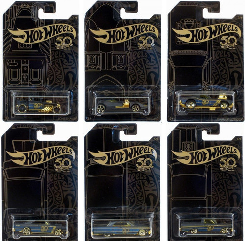 Hot Wheels 50th Anniversary Black & Gold Chase Set of 6 Diecast Cars