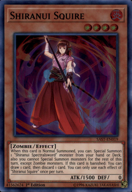 YuGiOh Savage Strike Super Rare Shiranui Squire SAST-EN019