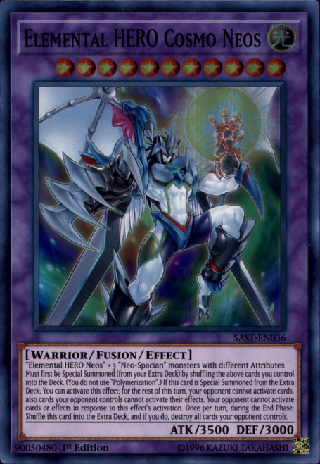 YuGiOh Savage Strike Super Rare Elemental HERO Cosmo Neos SAST-EN036