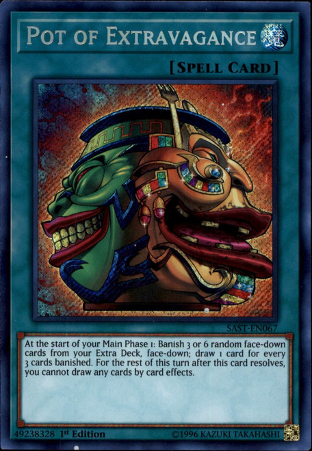 YuGiOh Savage Strike Secret Rare Pot of Extravagance SAST-EN067
