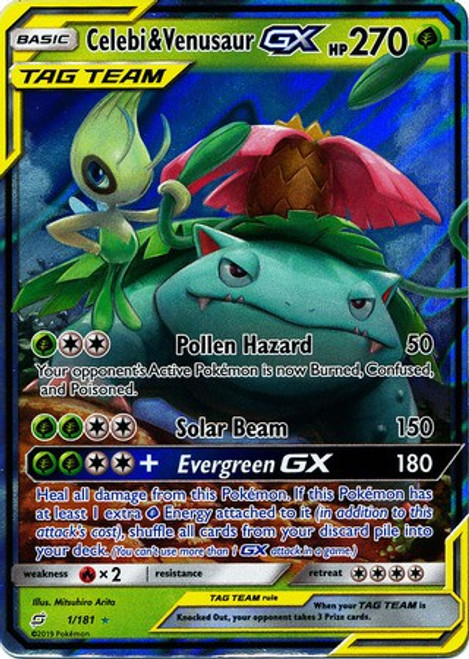 Pokemon Trading Card Game Team Up Ultra Rare Celebi & Venusaur GX #1