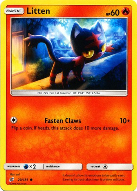Pokemon Trading Card Game Team Up Common Litten #20