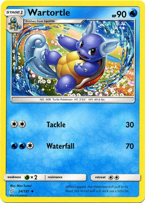Pokemon Trading Card Game Team Up Uncommon Wartortle #24