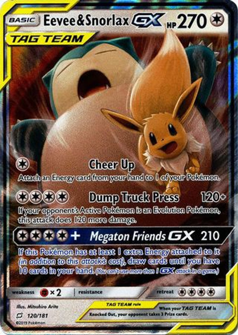Pokemon Trading Card Game Team Up Ultra Rare Eevee & Snorlax GX #120