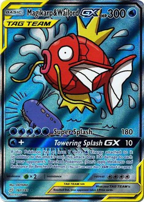 Pokemon Trading Card Game Team Up Ultra Rare Magikarp & Wailord GX #161