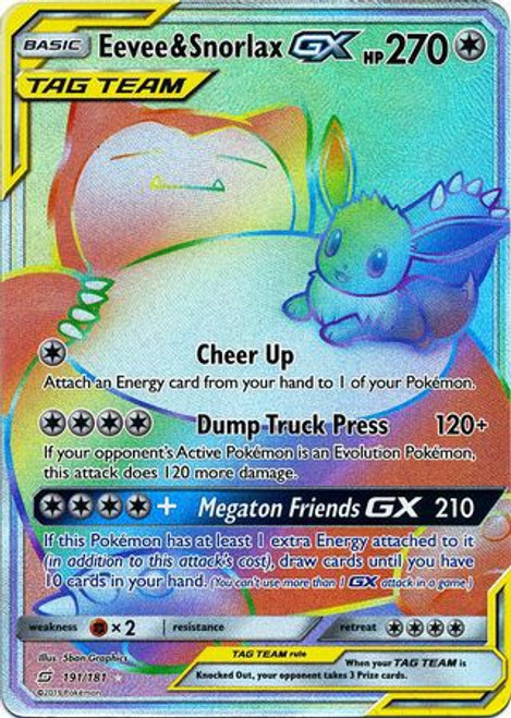 Pokemon Trading Card Game Team Up Secret Rare Eevee & Snorlax GX #191