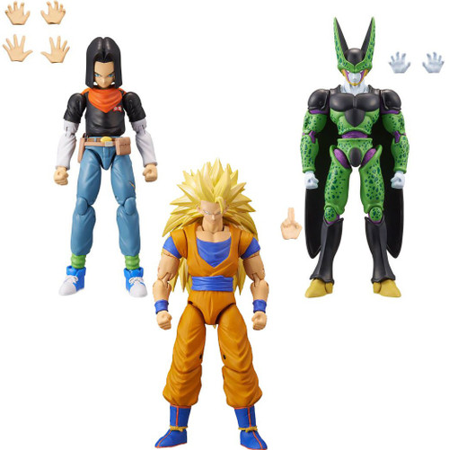 Dragon Ball Super Dragon Stars Series 10 Android 17, Super Saiyan 3 Son Goku & Perfect Cell Set of 3 Action Figures [Build-a-Figure]