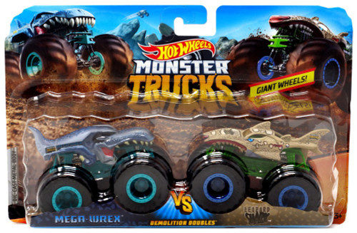 Hot Wheels Monster Trucks Demolition Doubles Mega-Wrex & Leopard Shark Diecast Car 2-Pack [Green/Blue]
