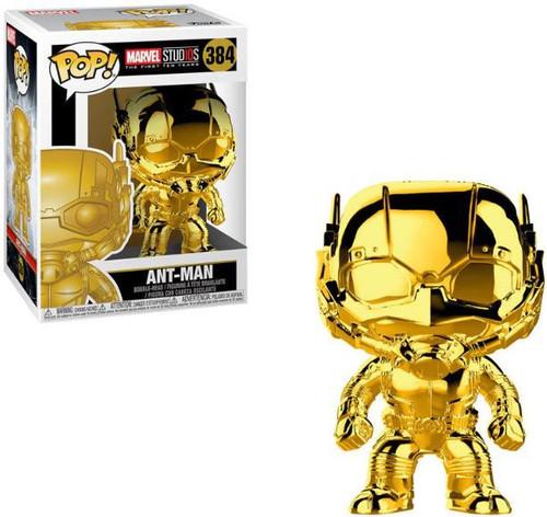 Funko Marvel Studios 10 POP! Marvel Ant-Man Vinyl Bobble Head #384 [Gold Chrome, Damaged Package]
