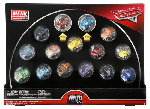 Disney / Pixar Cars Die Cast Mini Racers Variety Car 15-Pack [with Rusteze McQueen & Intro Ramone, Damaged Package]