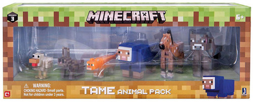 Minecraft Series 3 Tame Animal Pack [Cow, Foal, Blue Sheep, Cat, Bunny & Chicken]