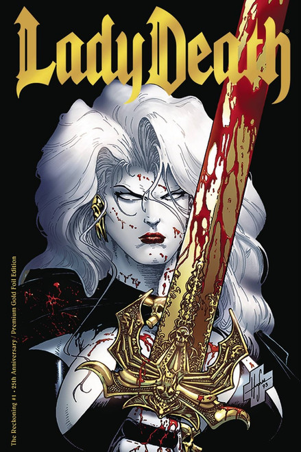 Coffin Comics #1 Lady Death The Reckoning Comic Book [25th Anniversary Edition Gold Foil]