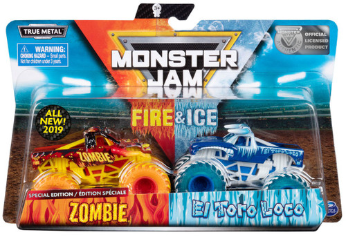 Monster Jam Fire & Ice Zombie & El Toro Loco Exclusive Diecast Car 2-Pack [Special Edition]