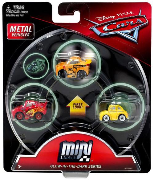 Disney / Pixar Cars Die Cast Mini Racers Glow Thomasville Cruz Ramirez, Glow Lightning McQueen & Glow Luigi Car 3-Pack