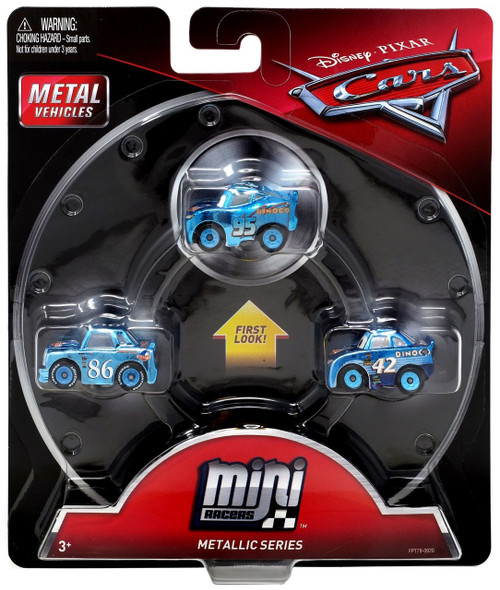Disney / Pixar Cars Die Cast Mini Racers Metallic Dinoco Lighting McQueen, Metallic Dinoco Chick Hicks & Metallic Cal Weathers Car 3-Pack