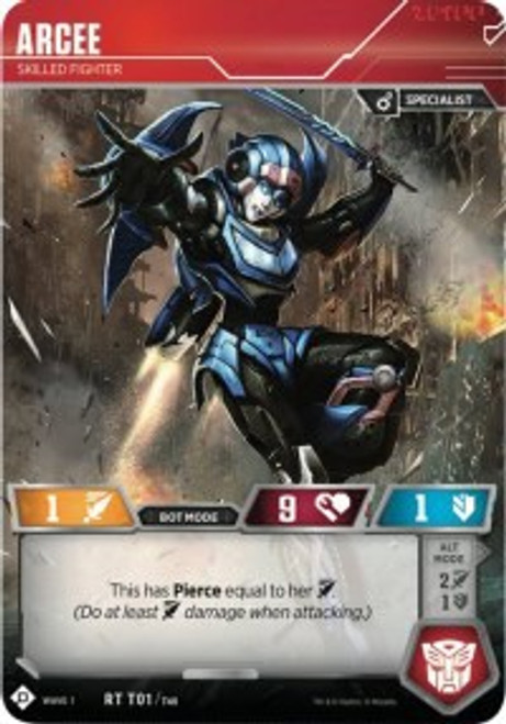 Transformers Trading Card Game Wave 1 Rare Arcee - Skilled Fighter T01