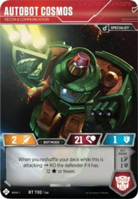 Transformers Trading Card Game Wave 1 Rare Autobot Cosmos - Recon & Communication T02