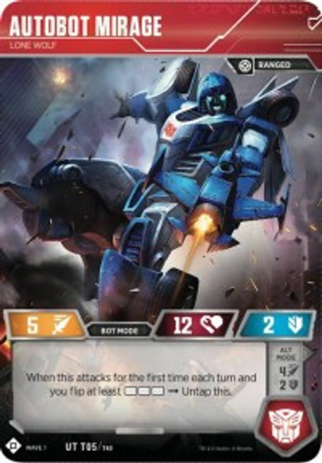 Transformers Trading Card Game Wave 1 Uncommon Autobot Mirage - Lone Wolf T05