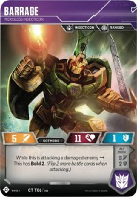 Transformers Trading Card Game Wave 1 Common Barrage - Merciless Insecticon T06
