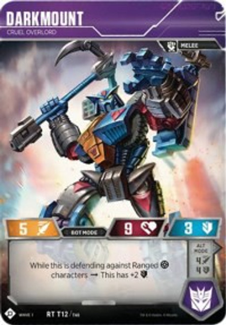 Transformers Trading Card Game Wave 1 Rare Darkmount - Cruel Overlord T12