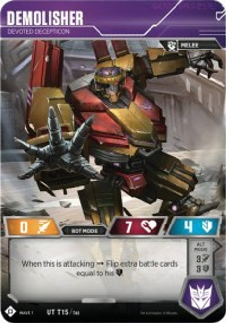 Transformers Trading Card Game Wave 1 Uncommon Demolisher - Devoted Decepticon T15