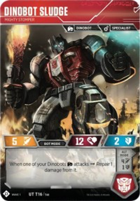 Transformers Trading Card Game Wave 1 Uncommon Dinobot Sludge - Mighty Stomper T16
