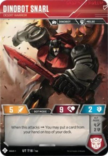 Transformers Trading Card Game Wave 1 Uncommon Dinobot Snarl - Desert Warrior T18
