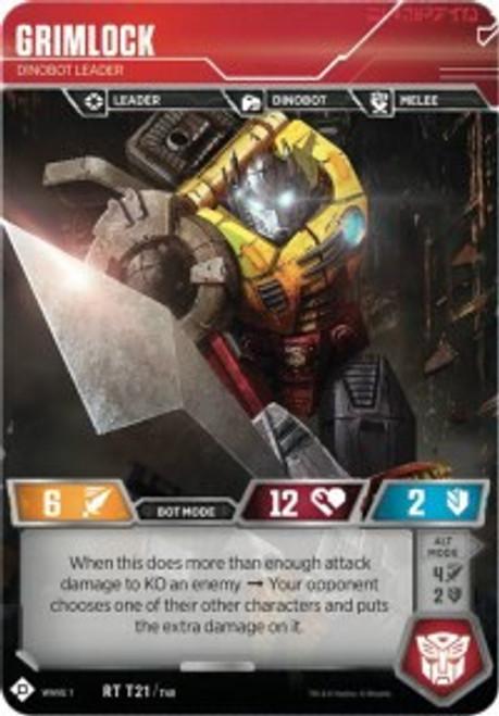 Transformers Trading Card Game Wave 1 Rare Grimlock - Dinobot Leader T21