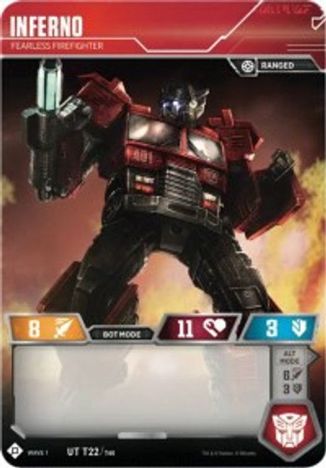 Transformers Trading Card Game Wave 1 Uncommon Inferno - Fearless Firefighter T22