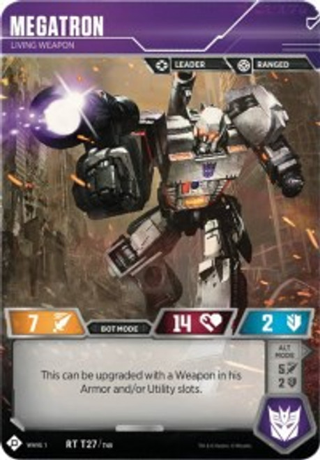 Transformers Trading Card Game Wave 1 Rare Megatron - Living Weapon T27