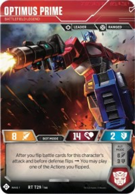 Transformers Trading Card Game Wave 1 Rare Optimus Prime - Battlefield Legend T29