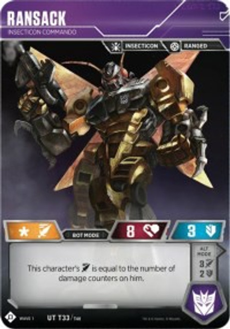 Transformers Trading Card Game Wave 1 Uncommon Ransack - Insecticon Commando T33