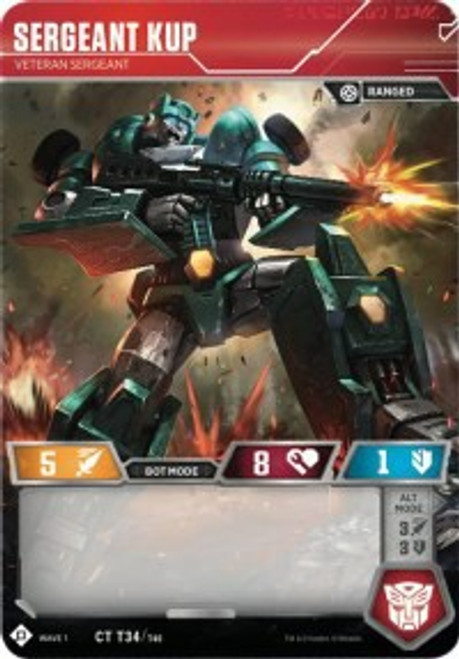 Transformers Trading Card Game Wave 1 Common Sergeant Kup - Veteran Sergeant T34
