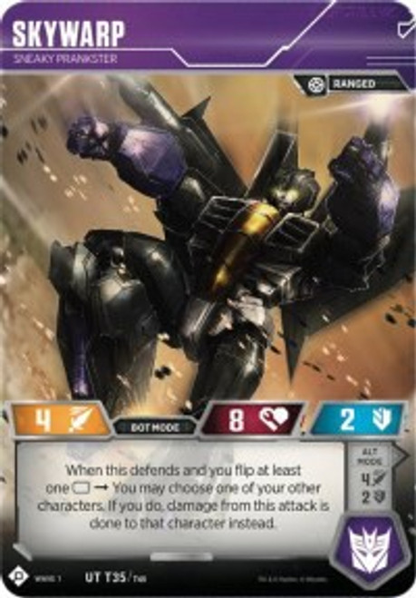 Transformers Trading Card Game Wave 1 Uncommon Skywarp - Sneaky Prankster T35